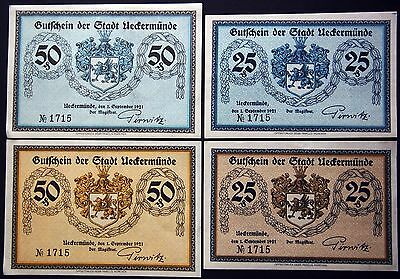 UECKERMUENDE 1921 complete matching serial no. 1751 set! rare German Notgeld