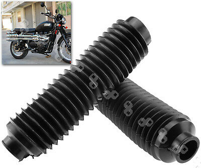 2x Black Universal Motorcycle Rubber Front Fork Dust Cover Gaiters Gators Boots