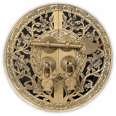 CBH FLOWER Chinese Brass Hardware Cabinet Door Plate 5.5""