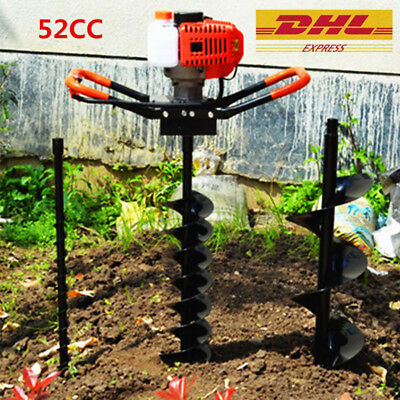 "52cc Post Earth Auger Hole Digger Posthole Fence Borer Petrol Drill 8"" bits Sale"