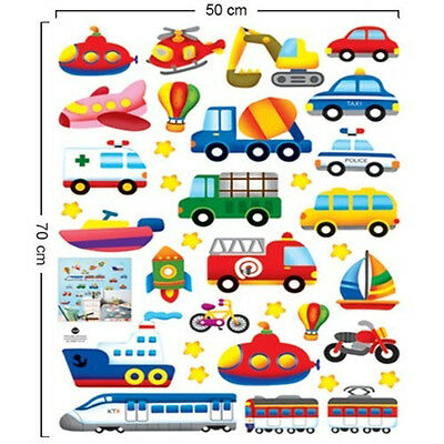 Colorful Train Car Train Boat Removable Wall Sticker Decal Kids Boys Room Decor
