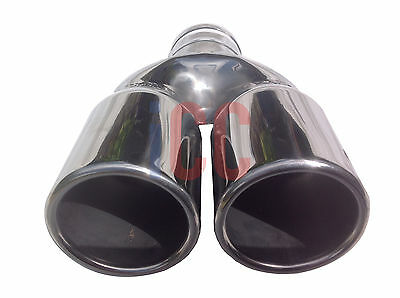POLISHED STAINLESS STEEL TWIN Car tail pipe Exhaust box Tip Pipe Trim cover van