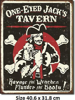 One Eyed Jacks Tavern Rustic Tin Sign 1322 Made in USA Pirate