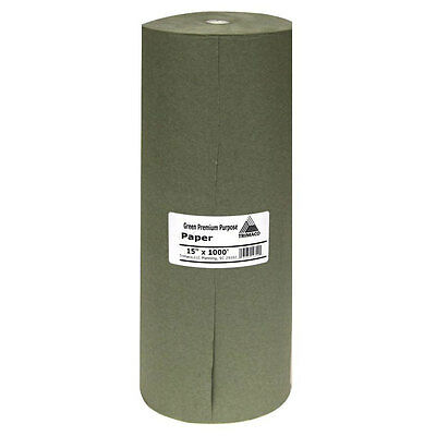 15 in. x 1000 ft. Green Masking Paper Drop Sheet Automotive Paint Drop Cloth NEW