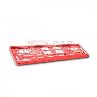 1x SUPPORT PLAQUE IMMATRICULATION VOITURE CADRE LICENCE METALLISES ROUGE