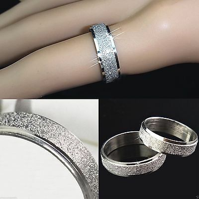 6mm Sparkle Silver Plated Men Bling Ring Women Wedding Band Pinky Sizes J to Z+2