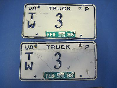 1998 Virginia License Plates Matched Pair low # 3