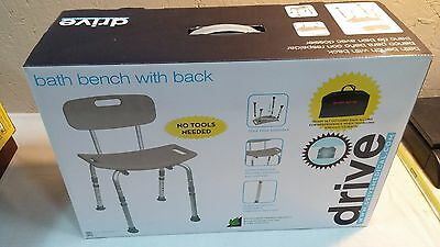 Shower Chair Bath With Back Support & Adjustable Legs & Bag- Drive Medical