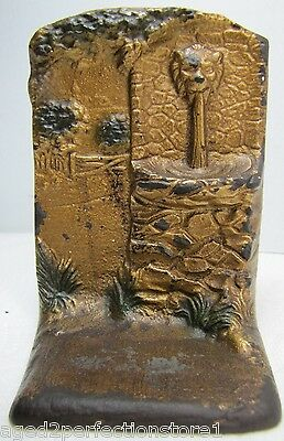 Antique Cast Iron Lion Head Fountain Landscape Door Stop Bookend old orig paint