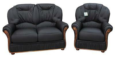 Debora 2 Seater + Armchair Italian Leather Two Piece Sofa Suite Black