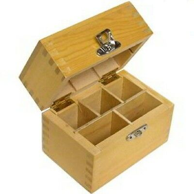 NEW Wood Storage Box 4 Gold Silver Testing Acid Test Kit Stones & Tester Bottles