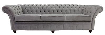 Chesterfield Balmoral 4 Seater Sofa Settee Azzuro Silver Grey Fabric SS