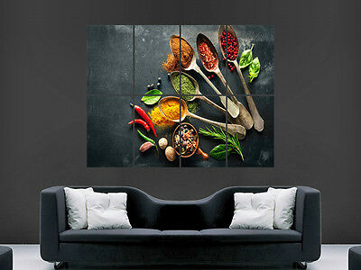 Food Spices Poster Pepper Nuts Chef Spoons Garlic Wall Art Picture Print Large
