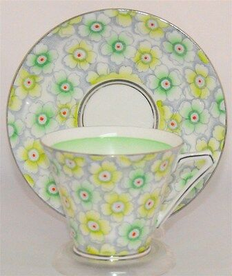 Bell China England Tea Cup & Saucer Green Flowers, Red Centers, Silver Trim (TE