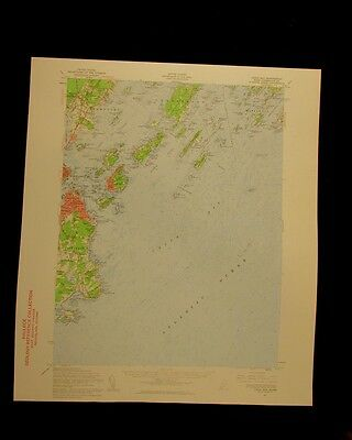 Casco Bay Maine 1960 vintage USGS Topographical chart map