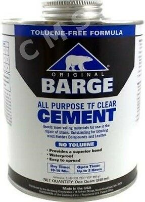 BARGE Original All-Purpose TF Clear Cement Shoe Glue QUART Tin Can Brush Quabaug