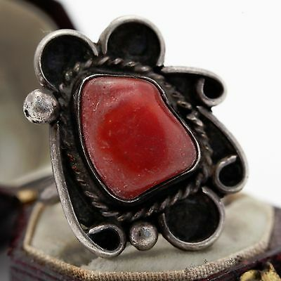 Antique Vintage Sterling Silver Native Pawn Navajo Floral Red Coral Ring S 6.75