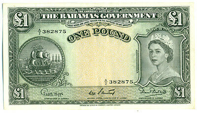1953 - 1 Pound (Bahamas) Note - Extra Fine Plus ( Catalogue # (ND(1953).Black.b)
