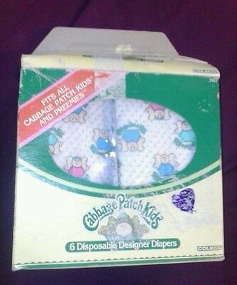 1984 Coleco CABBAGE PATCH KIDS (5) DISPOSABLE DESIGNER DIAPERS Box oaa cpk