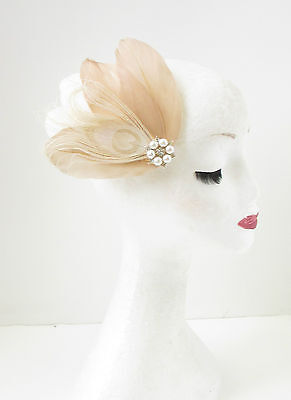 Nude Caramel Cream Feather Fascinator Hair Clip Ivory Bridal Vintage Pearl 117