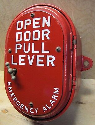 Old Cast Iron Gamewell Emergency Alarm Box Porcelain 'Open Door Pull Lever' Sign