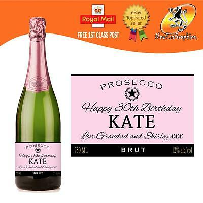 Personalised Prosecco Pink Bottle Label Birthday Any Occasion Gift
