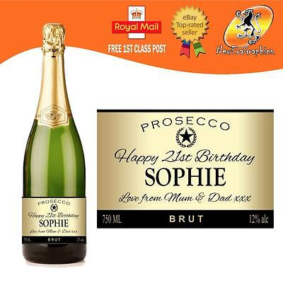 Personalised Prosecco Gold Bottle Label Birthday Wedding Any Occasion Gift