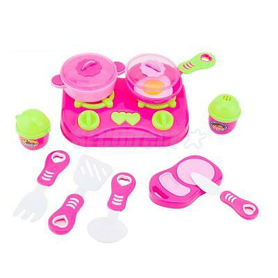 Kids Plastic Cookware Set Kitchen Role Play Pretend Food Toys Xmas Gift #B