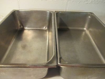 "2 FULL SIZE STAINLESS STEEL STEAM TABLE WATER PAN 6"" Deep"