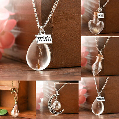 New Wish Glass Real Dandelion Seeds In Glass Wish Bottle Chain Necklace Pendant