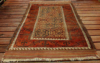 Genuine Rare Antique Baluch Tribal Pile Rug Turkestan C1900