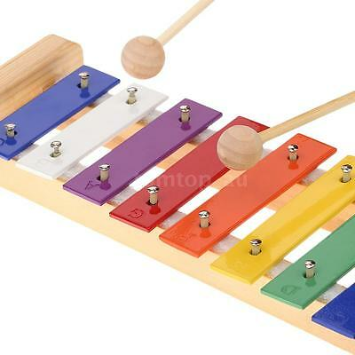 Wood Pine Xylophone 8-Note 3mm Colorful Aluminum Plate C Key Toddle Musical K1P3