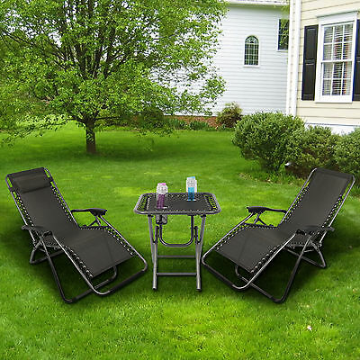 New Zero Gravity Textoline Steel Frame Chairs Table Set Garden Reclining Lounger