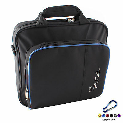 Black Travel Carry Case Shoulder Bag for Sony Playstation 4 PS4 + Carabiner