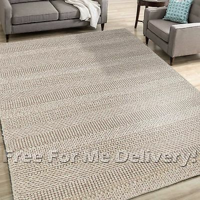 KUPPIO HANDKNOTTED WOOL TAUPE GREY MODERN FLOOR RUG (M) 155x225cm *FREE DELIVERY