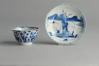 High Quality Ca 1700 Chinese Porcelain Cup & Saucer 'Figures & Landscape' Marked