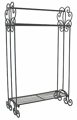 COUNTRY Shabby Chic Vintage Style Metal Free Standing TOWEL RAIL in Black