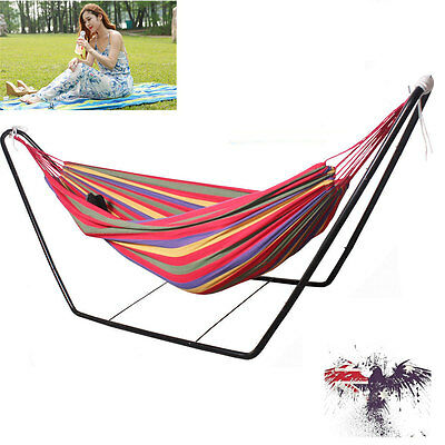Double Cotton Fabric Hammock Steel Frame Stand Combo Swing Chair Camping Outdoor