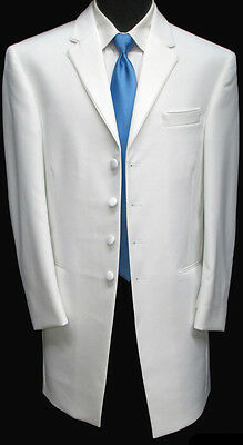 New White Tuxedo Jacket Frock Coat Wedding Mason Halloween Costume Gangster Pimp