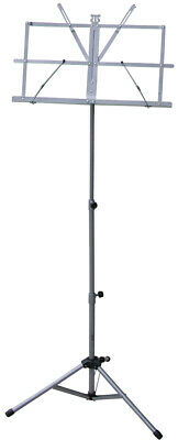 NEW SILVER LIGHTWEIGHT MUSIC STAND w/ CARRY BAG ~ FOLDING ADJUSTABLE PORTABLE