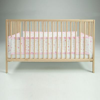 Airwrap Pink Stars Mesh 4 Sided Baby Cot / Cotbed Bumper With Maximum Airflow