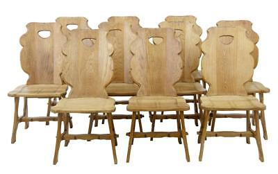 SET OF 10 1920's SWEDISH OAK DINING CHAIRS