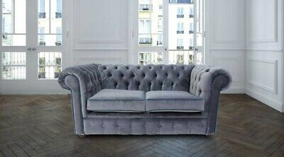 Chesterfield 2 Seater Malta Grey Velvet Blue Piping Fabric Sofa Settee