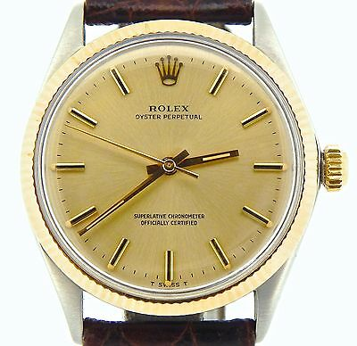 Mens Rolex 14K Gold/Stainless Steel Oyster Perpetual Champagne Dark Brown 1005