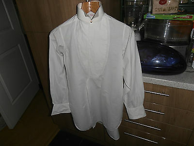 "Vtg T Hodgkinson Marcella collarless dress shirt size 14"" c/w collar & studs"