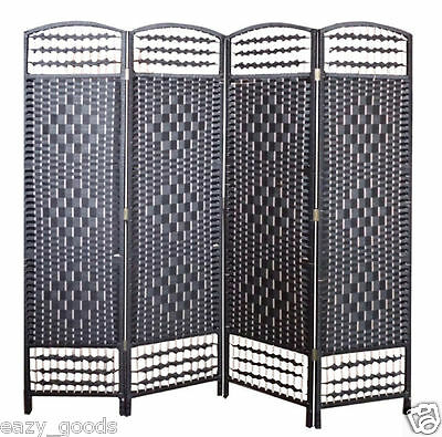 Wicker Hand Made Room Divider Partition Privacy Screen - Black 4/6 Panels