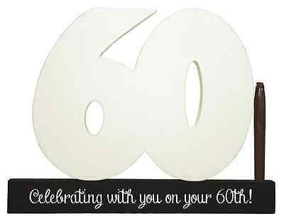 NEW Splosh Wooden Signature Number 60th Birthday Plaque You Sign With Pen SGN60