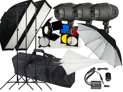900w Flash kit Photography Studio Strobe light 3 x 300w heads P-300 Digital LED