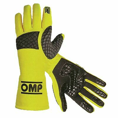 OMP Race / Rally Pro Mech Flame Retardant Mechanics Gloves In High Vis Yellow