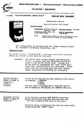 Orion CM 50 bill changer mail - .pdf sent by email    -  approx 6 pages